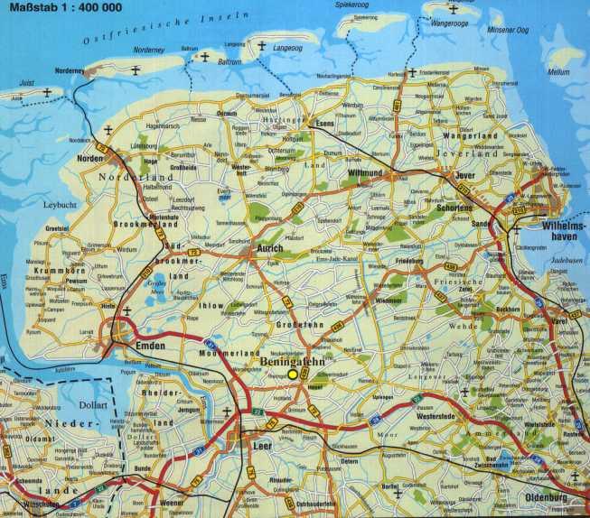 Beningafehn Online Touristik Ostfrieslandkarte
